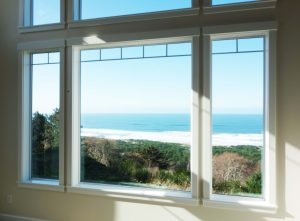 Pacific Ocean front view through window